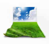 3D grass with clouds — Stock Photo