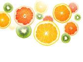 Juicy fruit falling — Stock Photo