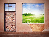 Wall with window and summer landscape — Stock Photo