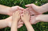 Children's hands in hands of adults — Stock Photo