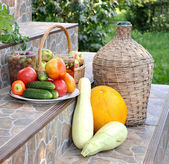 Vegetables, fruit at house steps — Stock Photo