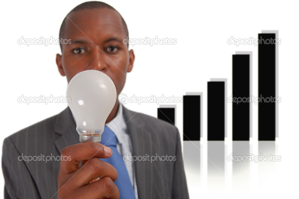 This is an image of a businessman trying to think of an idea. The graph in the background represents progress. — Foto Stock #5519673