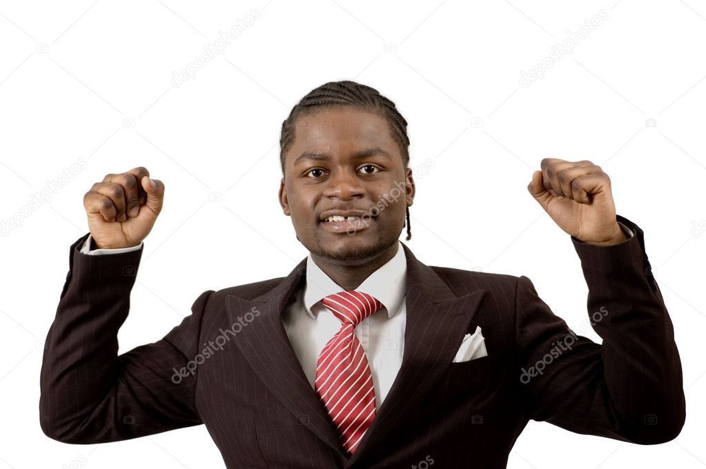 This is an image of a business man excited about a successful deal.  Stock Photo #5569927