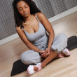Stock Photo: Woman fitness training and meditating