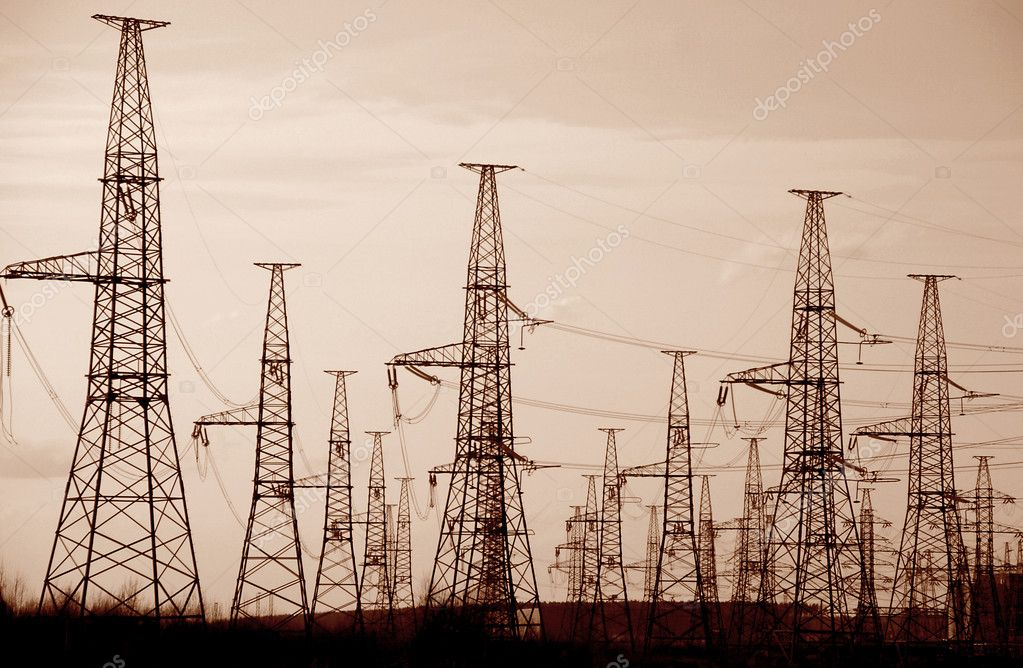 Electric lines of a high voltage                — Stock Photo #5395345
