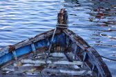 Carcass old wooden boat damaged by time — Stock Photo