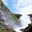 Torrent with a strong current in the spring in norway — Stock Photo