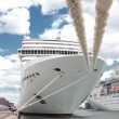 Stock Photo: Front of a cruise ship docked at a port in Norway