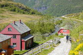 Norwegian house of colors in the mountains — Stock Photo