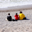 Three children on the beach — Foto Stock