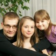 Father and his daughters — Stock Photo