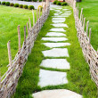 Old-fashioned alley with green grass — Stock Photo
