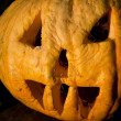 Halloween pumpkin in evening - Stock Photo