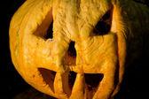 Helloween pumpkin in evening — Stock Photo