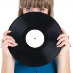 Girl with vinyl disc — Stock Photo #5582549