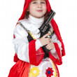 Little Red Riding Hood with gun — Stock Photo