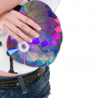 Stock Photo: CD discs in hand