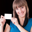Girl with blank card — Stock Photo