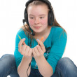Teenage girl with headphones — Stock Photo