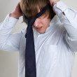 Businessman with tie on head — Stock Photo