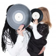 Girls with vinyl discs — Stock Photo