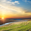 Good sunset over river — Stock Photo