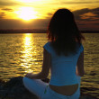 Stock Photo: Yoga at sunset