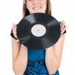 Girl with vinyl — Stock Photo