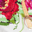 Non-finished embroidered handmade good — Stock Photo