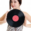Girl with vinyl disc - Stockfoto