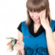 Girl with cable — Stock Photo