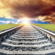Rail goes to sun — Stock Photo
