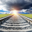 Railway to sunset — Stock Photo