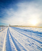 Rural road under snow — Foto Stock
