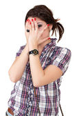 Woman covering her eye — Stock Photo