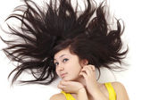 Woman with scatter hair — Stock Photo