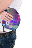 CD discs in hand — Stock Photo