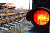 Stop signal lamp on railway — Stock Photo