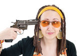 Suicide girl with gun — Stock Photo