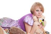 顽皮的女孩粉红色 — 图库照片