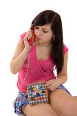 Girl with fun phone — Stock Photo