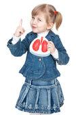 Menina com pulmões — Foto Stock