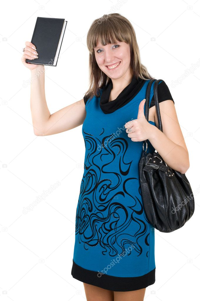 Shot of positive young woman with book in hand — Stock Photo #5582689
