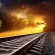 Railway to horizon - Stock Photo