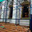 An ancient thai temple under renovation. - Stock Photo