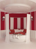 Round bed with curtain in modern interior — Stock Photo