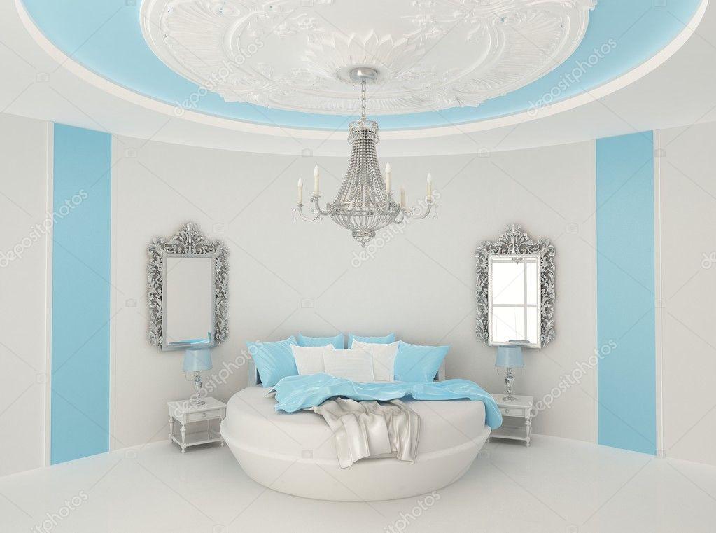 Ronde bed in barokke interieur stockfoto victoriaandrea 5463741 - Blauwe kamer kind ...