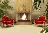 Baroque armchairs with fireplace in royal interior — Stock Photo