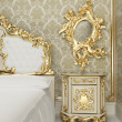 Baroque furniture with vegetable decor in the form of smooth cur — Стоковая фотография