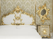 Baroque bedroom suite in royal interior — Stock Photo